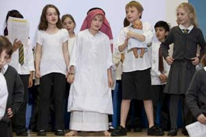 A multi-racial cast from North Ealing primary school perform Learn2soar's The Egyptian Nativity